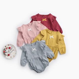 Bộ áo liền quần tay dài màu trơn dễ thương cho bé