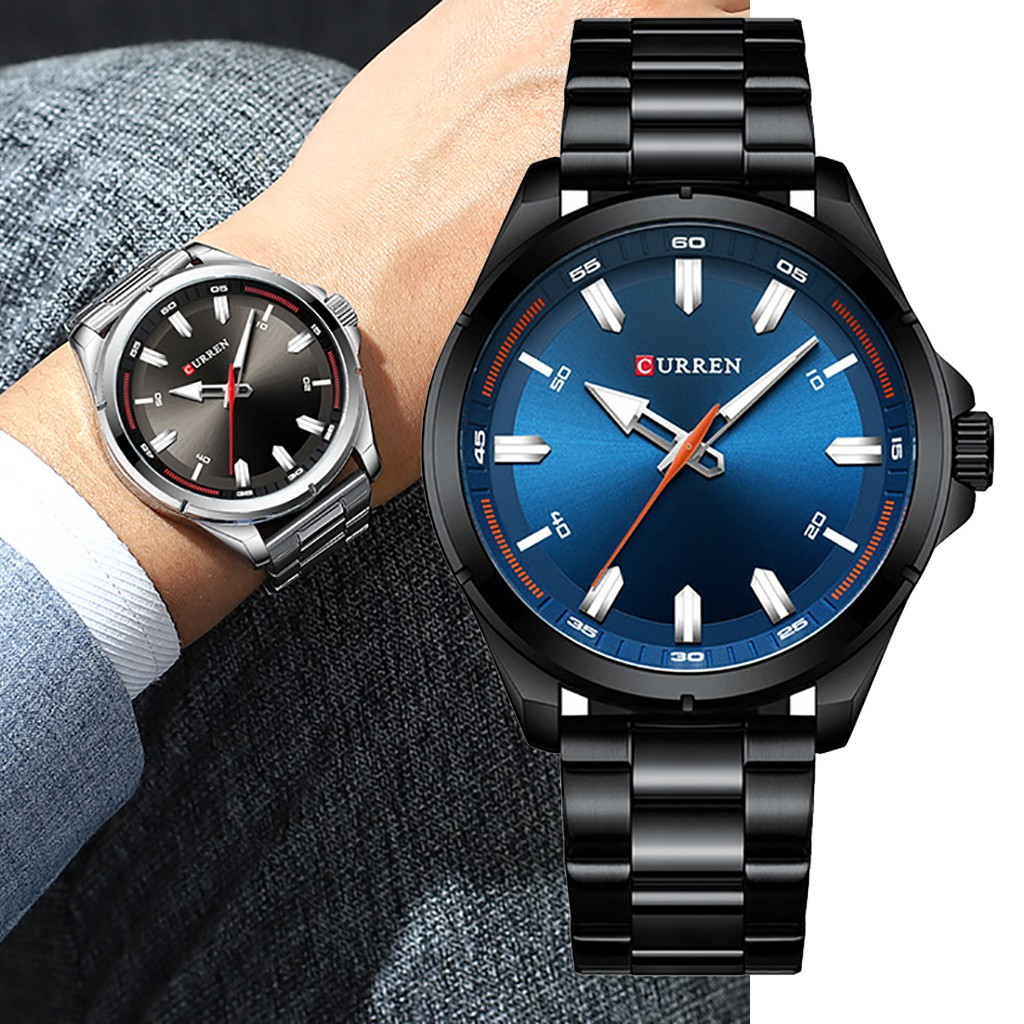 Aikefan Waterproof Large Dial Watch Men's Casual Fashion Steel Belt Large Dial Watch