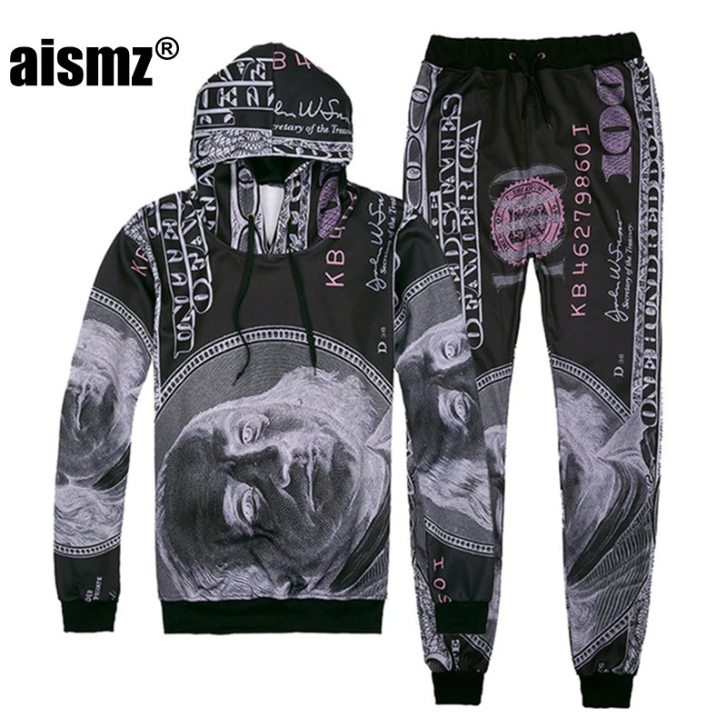 Wandergo Aismz Men Tracksuit Set Funny 3D Print Dollar Two Piece Set