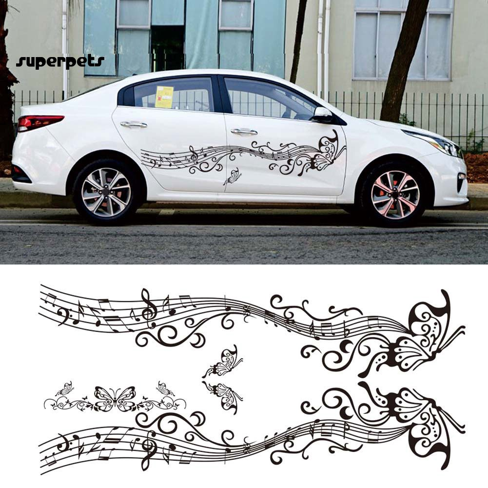 super_Lovely Butterfly Note Car-Styling Vehicle Body Side Hood Decals Stickers Decor