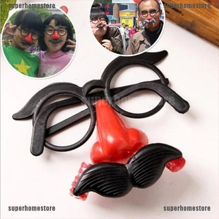 [COD]Funny Clown Glasses Costume Ball Round Frame Red Nose w/Whistle Mustache