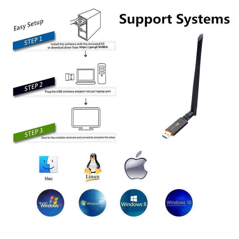1200Mbps Network Card 2 4G/5 8G Detachable Receiver Desktop
