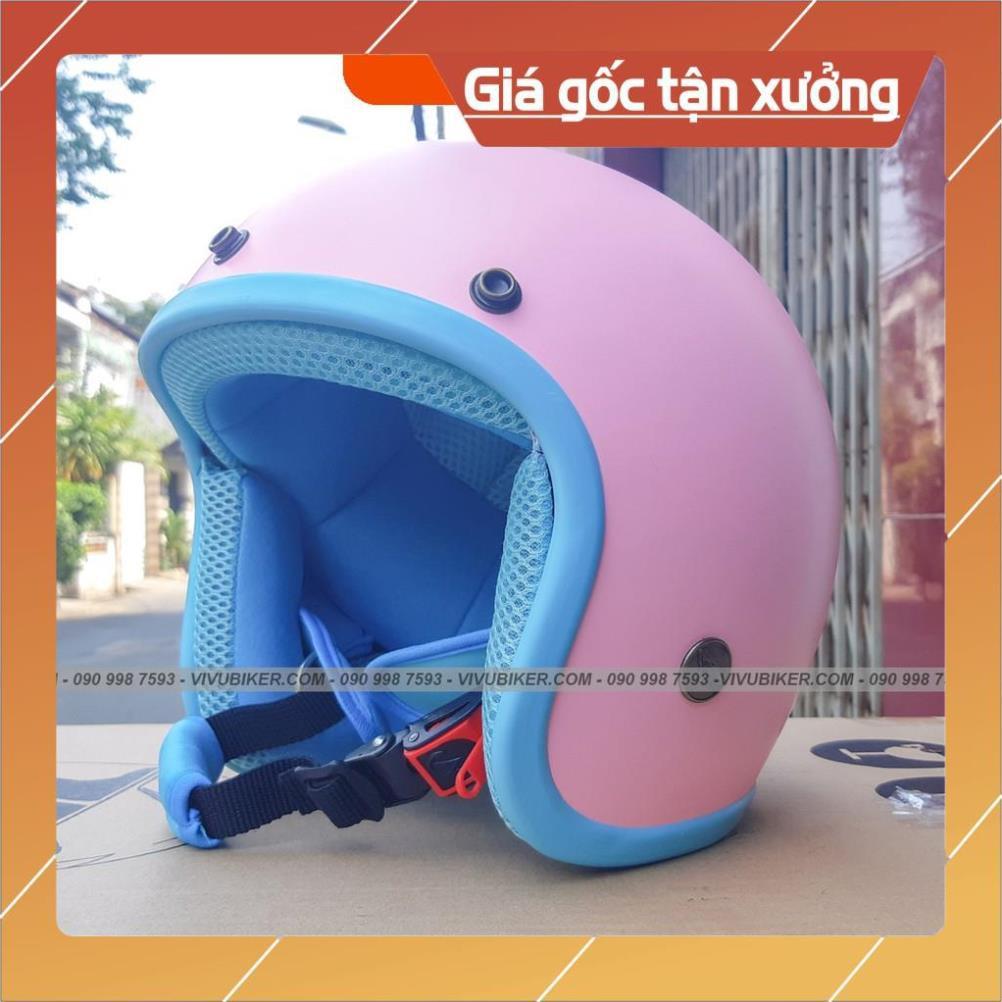 [Giống ảnh] Nón mũ bảo hiểm 3/4 màu hồng loang trắng lót hồng siêu dễ thương - Mũ 3/4 hồng pha trắng lót hồng chính hãng