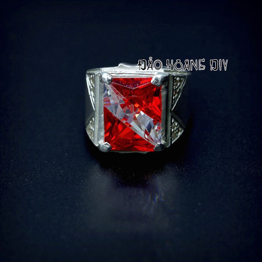 Nhẫn bạc nam đá ghép đỏ PVN1807