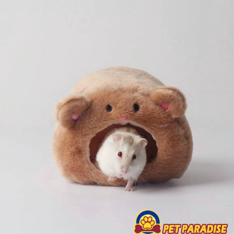 Brown Cartoon Bear-shape Hammock Design Warm Hamster House Washable Plush Cute Pet Cage House Bed Nest