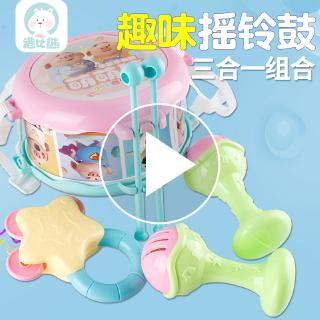 Hong Kong than Xiong Xiaomeng pig drum music children with neck double-sided suit drum toy hand drum set