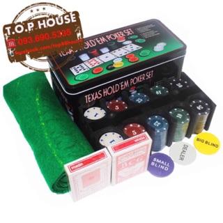 Set chip chơi bài Poker full box
