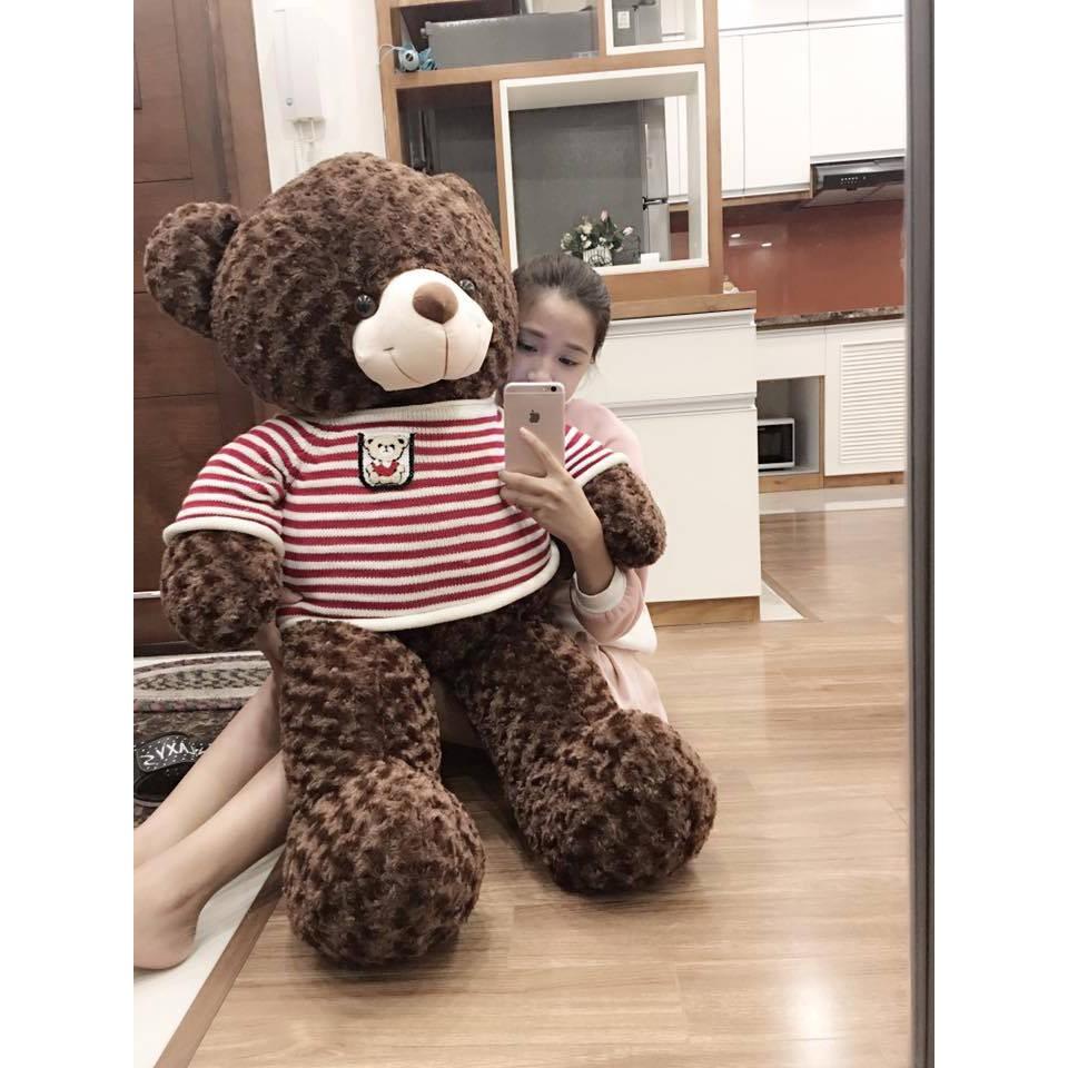 [Mã LIFEHOT55 giảm 10% đơn 99K] Gấu bông Teddy Cao Cấp khổ vải 1m2 Cao 1m màu Nâu hàng VNXK