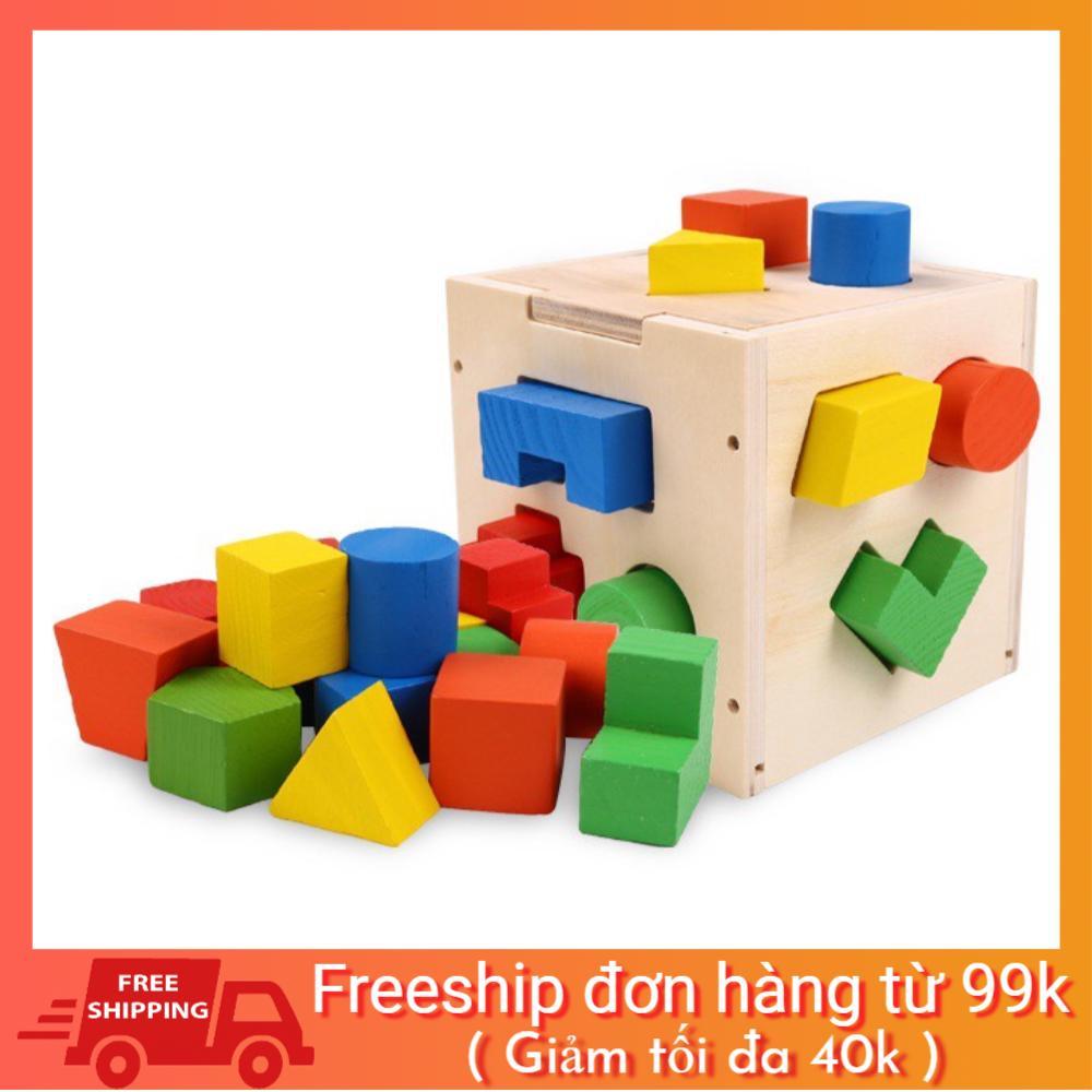 [BAO GIÁ SHOPEE] Đồ chơi Hộp thả khối đa năng 15 khối – Đồ chơi giáo dục gỗ an toàn