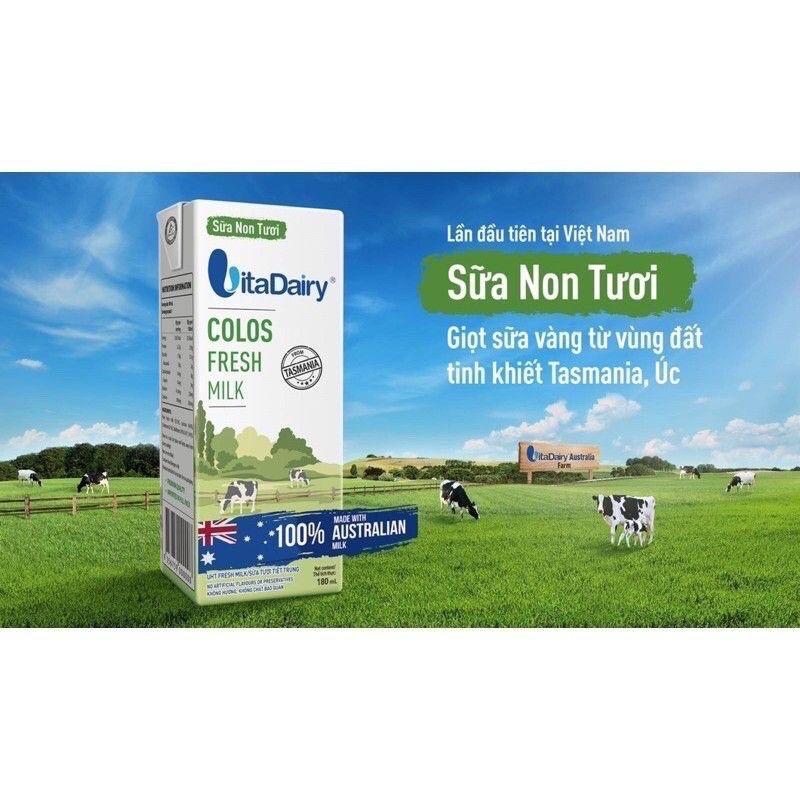 [Mã MKBCSALE7 giảm 8% đơn 250K] ( Chính hãng)Lốc 3 hộp sữa non tươi Vitadairy hộp 180ml