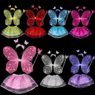 Combo 4 mặt hàng: cánh bướm, băng, giáo và váy bay cho trẻ em gái