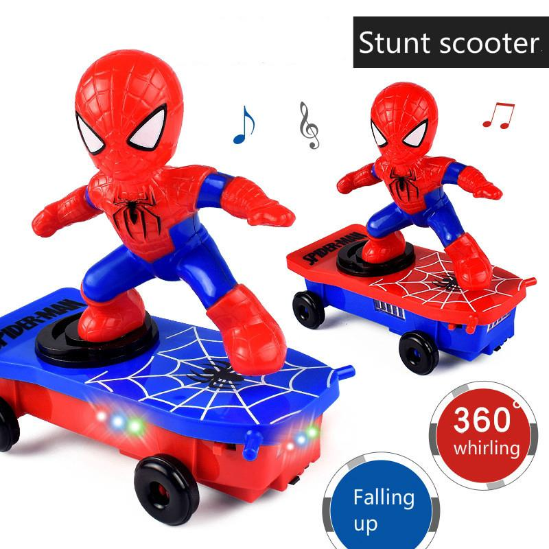 Electric Spider-Man scooter universal rotation tumble sound and light automatically kids cartoon toys