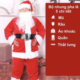 Bộ quần áo ông già Noel hay bộ trang phục noel người lớn vải nhung pha lê 5 chi tiết