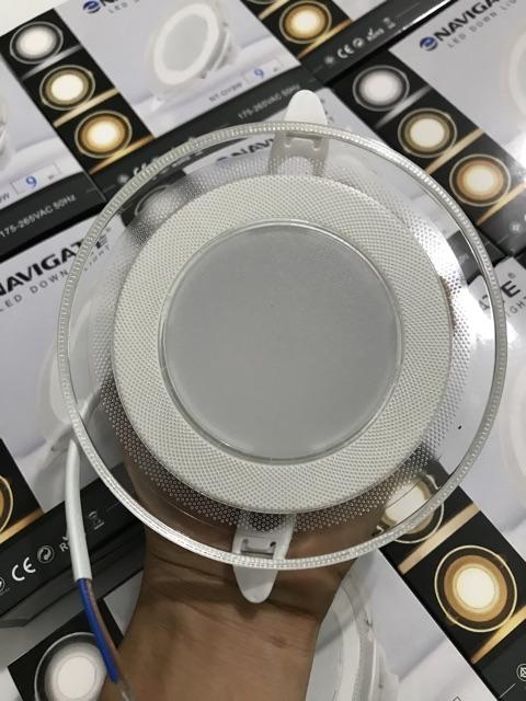 Đèn led âm trần 9W 3 màu mặt kính trong suốt, đế nhôm tản nhiệt dày chuyên công trình nhà phố, trung tâm thương mại