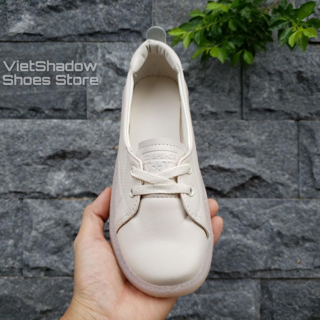[Mã SKAMCLU7 giảm 10% Tối Đa 50K đơn 0Đ] Slip on da nữ - Giày lười da nữ dáng bè - Da 3 màu (be), (trắng) và (đen)
