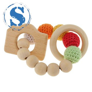 Wooden bead teething rings cute toy rattle toy baby teething accessories-camera