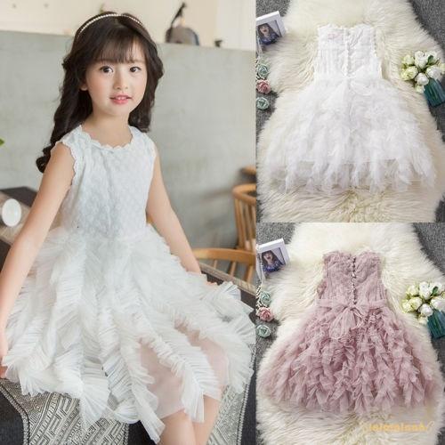 Đầm ren xòe xếp tầng phong cách công chúa đáng yêu cho bé gái