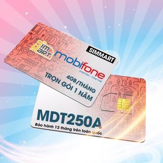Sim 4G Mobi MDT250A 4GB/Tháng Trọn gói 1 năm không nạp tiền