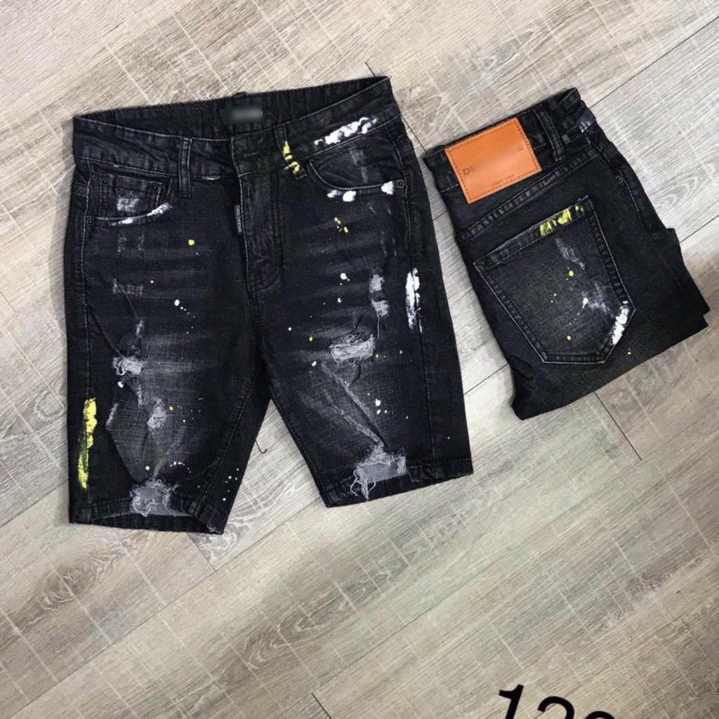 Quần short jean nam vẩy sơn quần sọt nam quần jean đẹp cá tính 218