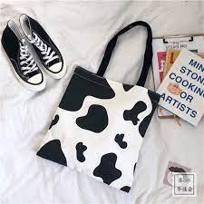 [ Siêu rẻ] Túi tote  họa tiết bò sữa thời trang cho nam và nữ kiểu mới có khóa kéo vừa A4 style Kitishop❤️