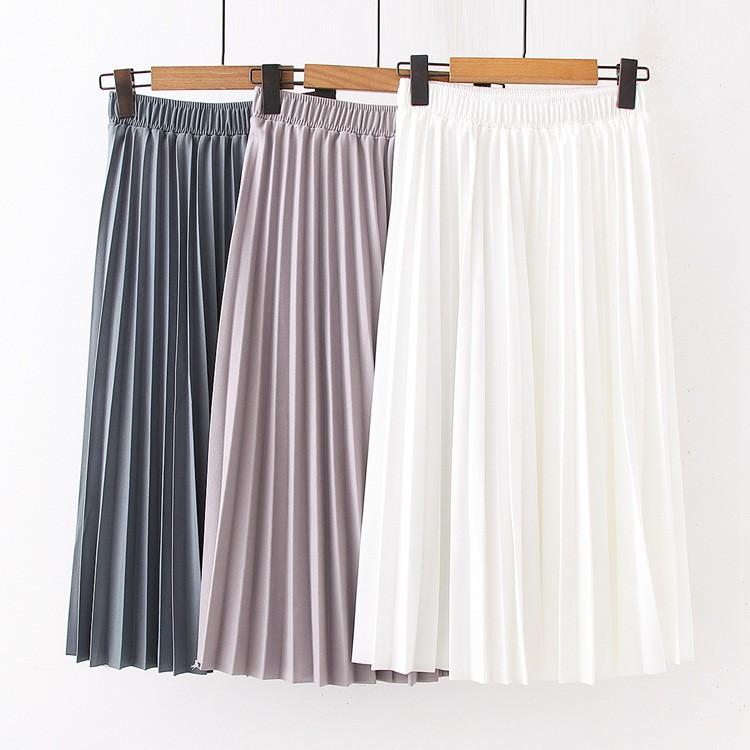 Chân váy dài xếp ly nữ dài qua gối midi phong cách đơn giản Akira Store