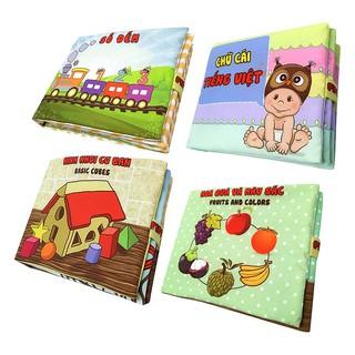 Bộ 4 Sách Vải Pipovietnam (Hoa Quả – Chữ Cái Tiếng Việt – Số Đếm – Hình Khối)
