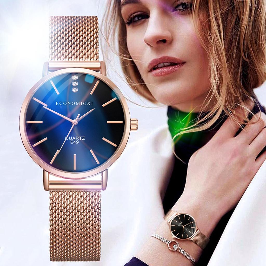 ผู้หญิง Quartz ตาข่ายเข็มขัดแฟชั่นนาฬิกาข้อมือ