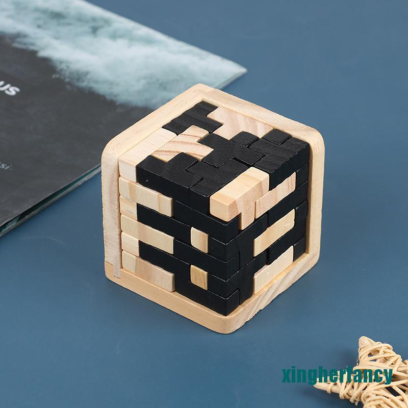 XYCC 3D Wooden Puzzle Toy Brain Teaser Geometric T Shape Matching Jigsaw Puzzle XJSS