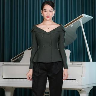 Áo vest xanh rêu cổ tim thiết kế Elise FW2006075TUWOGE thumbnail