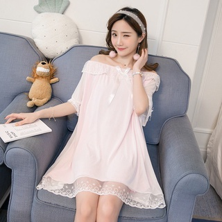 [in Stock] Summer Sexy Lace Sleeve Short Sleeve Skirt with Bra Princess Style Korean Mesh Nightdress Pajamas One-piece Home Suit Long Home Skirt Can Be Worn in Large Size
