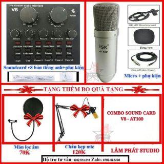 Combo Sound Card V8 + Micro ISK AT100 Chính Hãng Có Tem Mã Vạch