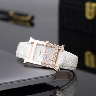 Đồng hồ nữ HERMES dây da mặt vuông đính đá cao cấp full box DHN02 12Th thumbnail