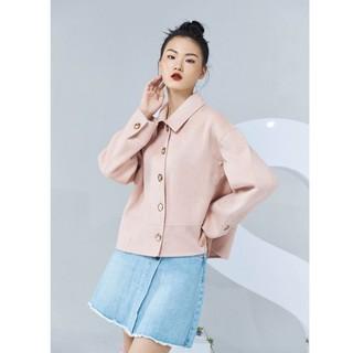 Áo dạ lông cừu hồng đai gấu Elise thumbnail