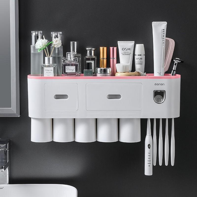 Giá đựng đồ Oenen cho bàn chải đánh răng/khăn giấy/mỹ phẩm sức chứa lớn có chức năng nhả kem đánh răng tự động