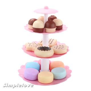 3-Tier Cookies and Desserts Tower Play Food Toy Set for Kids Children