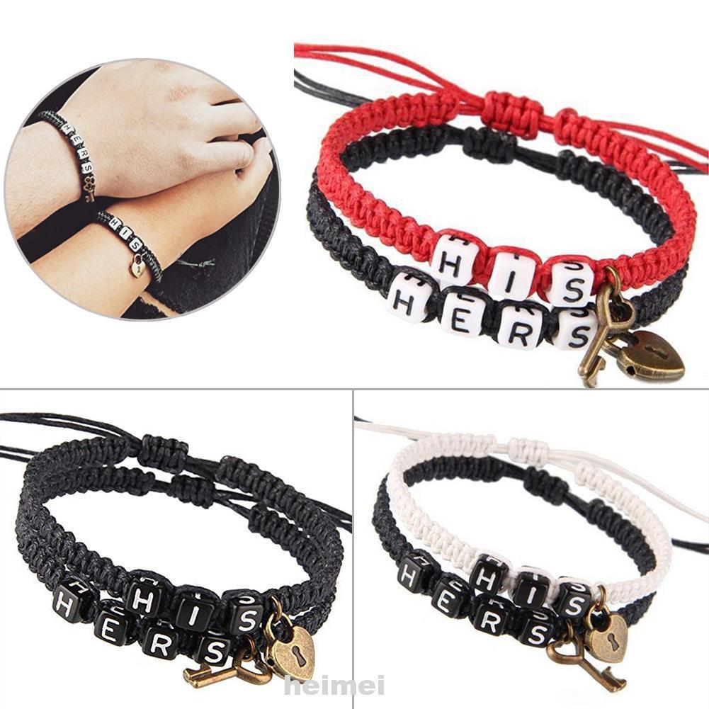 Couples Bracelet, Lovers His Hers Personalized Gift,Key lock ,Boyfriend Girlfriend Jewelry