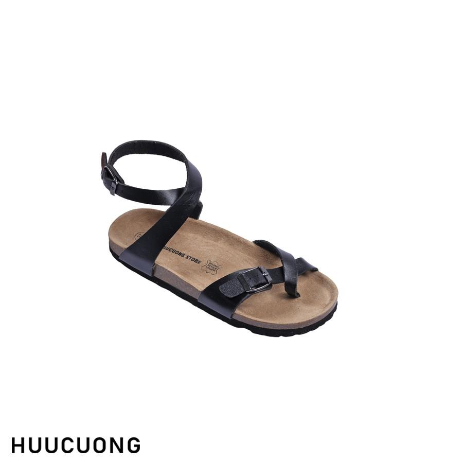 Sandal HuuCuong xỏ ngón cổ cao đen đế trấu