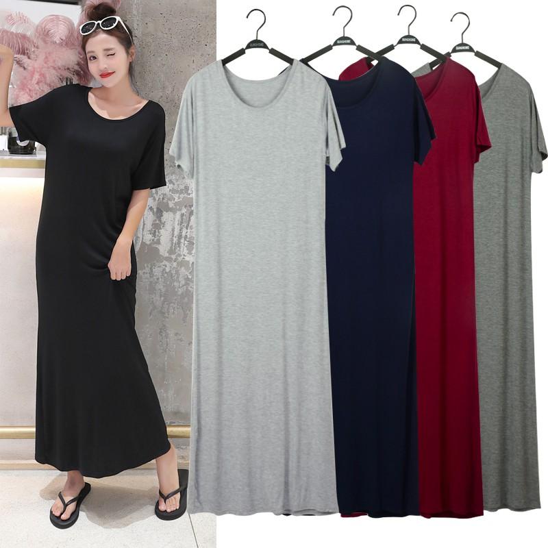 Đầm Maxi Cổ Tròn Màu Trơn Thời Trang Cho Nữ