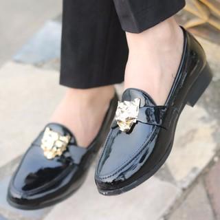 giày tây nam da bóng đai báo vàng thời trang