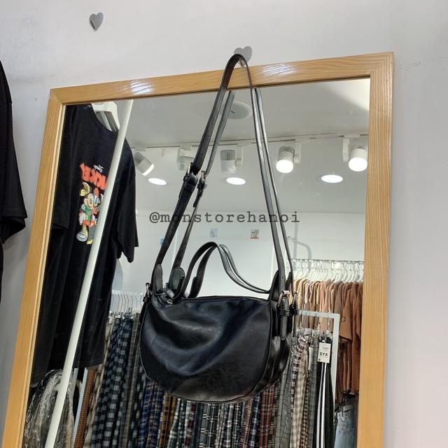 200440 Túi da nữ - túi ulzzang da trơn mịn dày dặn, túi đeo chéo nữ thời trang, túi bao tử màu đen