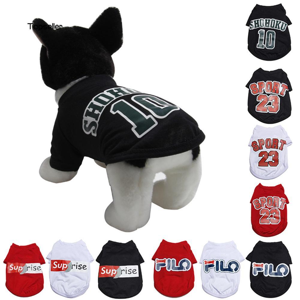 TOP-Cartoon Fashion Soft Breathable Pet Summer Vest T-Shirt Puppy Dog Sports Clothes