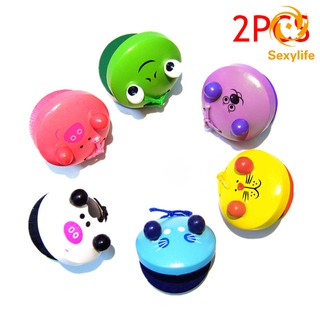 SL♣ 2 Pcs Cartoon Wooden Castanets Baby Children Musical Toys Musical Percussion Educational Instrum