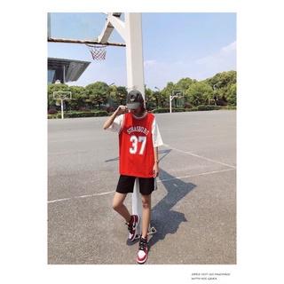 Áo bóng rổ nam nữ form rộng tay lỡ số 37 màu ĐỎ 6