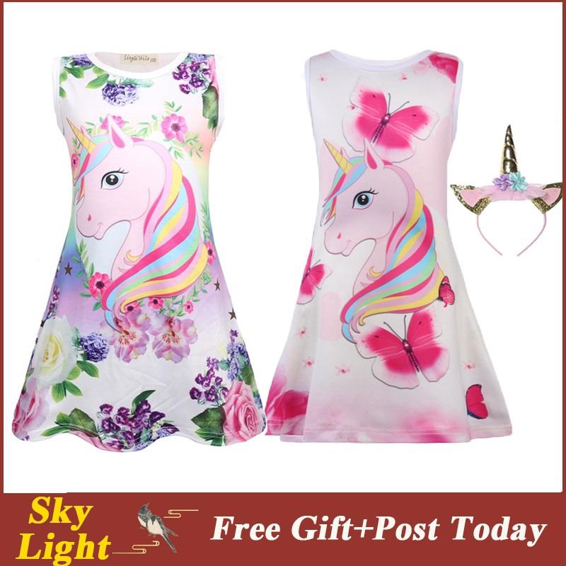 Girls Unicorn Dress Children Cartoon Floral Party Birthday Sleeveless Dresses Kids Princess Clothes