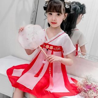 Đầm tay ngắn hoạ tiết hoa thêu phong cách Trung Quốc cho bé gái