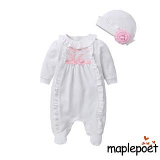 ✿soulmate✿-Newborn Baby Girl Clothes 3D Flower Romper Jumpsuit Long Sleeve Ruffled Footie Bodysuit Hat Outfit Set 2PCS