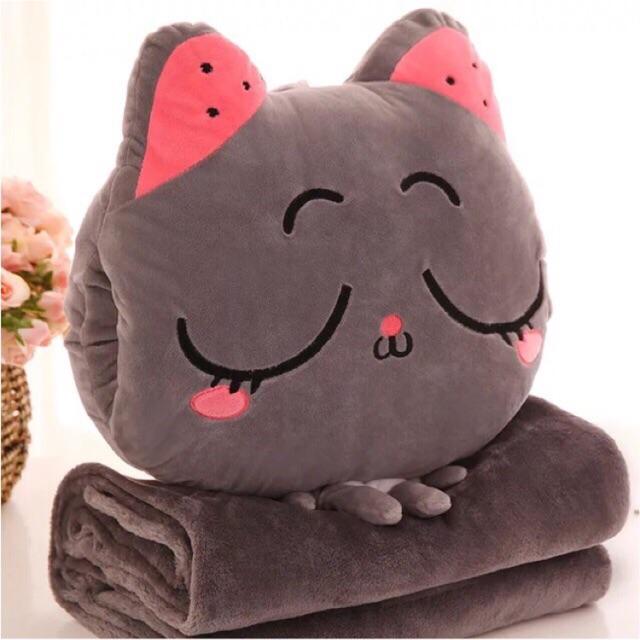 Bộ chăn gối ngủ văn phòng đa năng 3in1 cao cấp kèm đút tay mèo xám ngủ