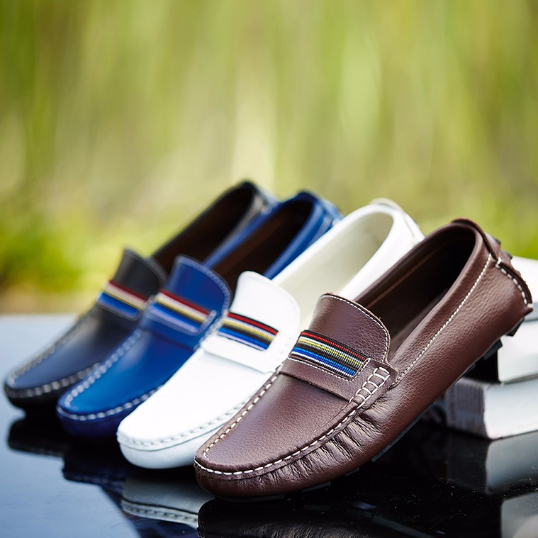Men's Driving Shoes Big Size Genuine Leather Loafers Shoes Flats Slip On