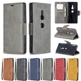 Bao Da Điện Thoại Da Cừu Màu Trơn Cho Sony Xperia Xz1 / Xz1 Compact / Xz2 Ốp