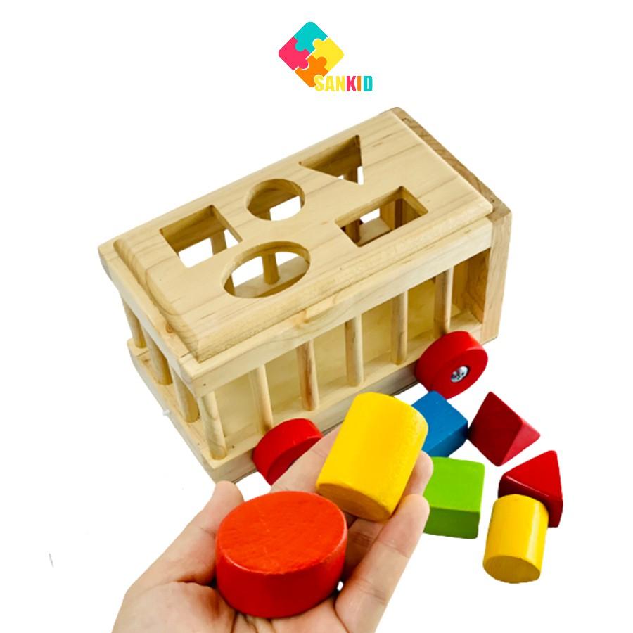 Xe thả hình khối bằng gỗ cho bé – đồ chơi gỗ